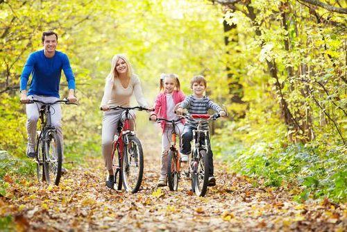 всей семьей на велосипедах в парк