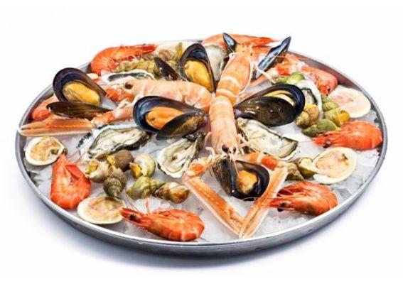 морепродукты креветки мидии